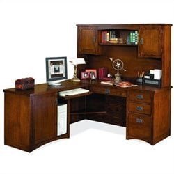 Kathy Ireland Home by Martin Mission Pasadena LHF L-Shape Wood Desk with Hutch