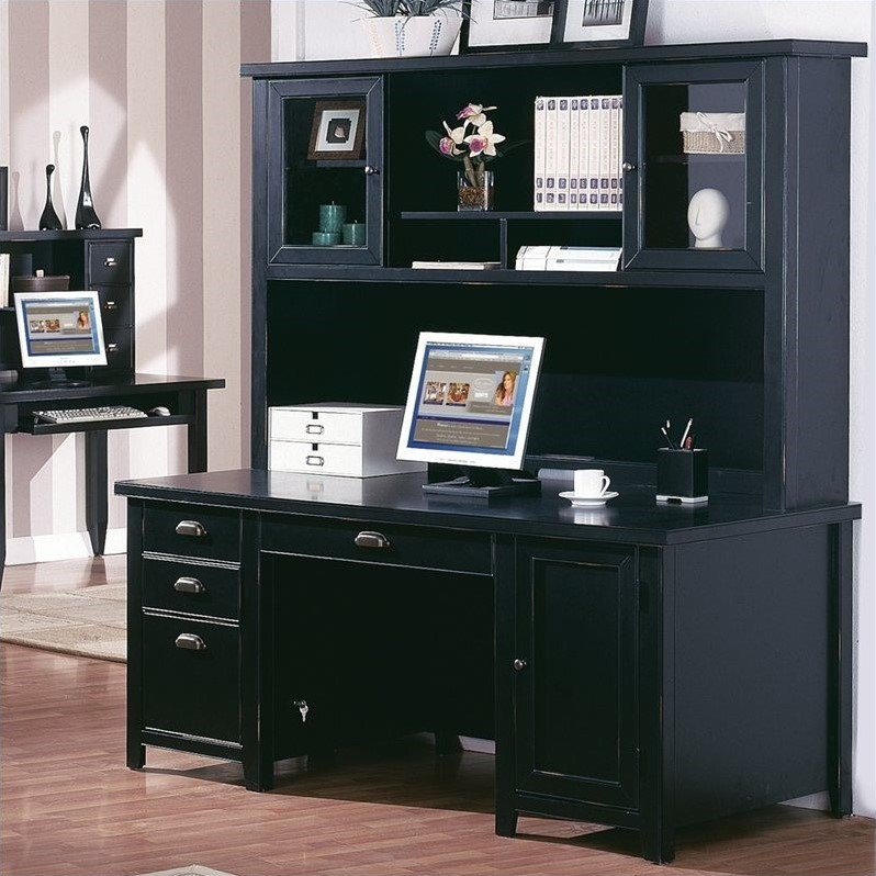 Martin Furniture Tribeca Loft Double Pedestal Desk With Hutch In Black