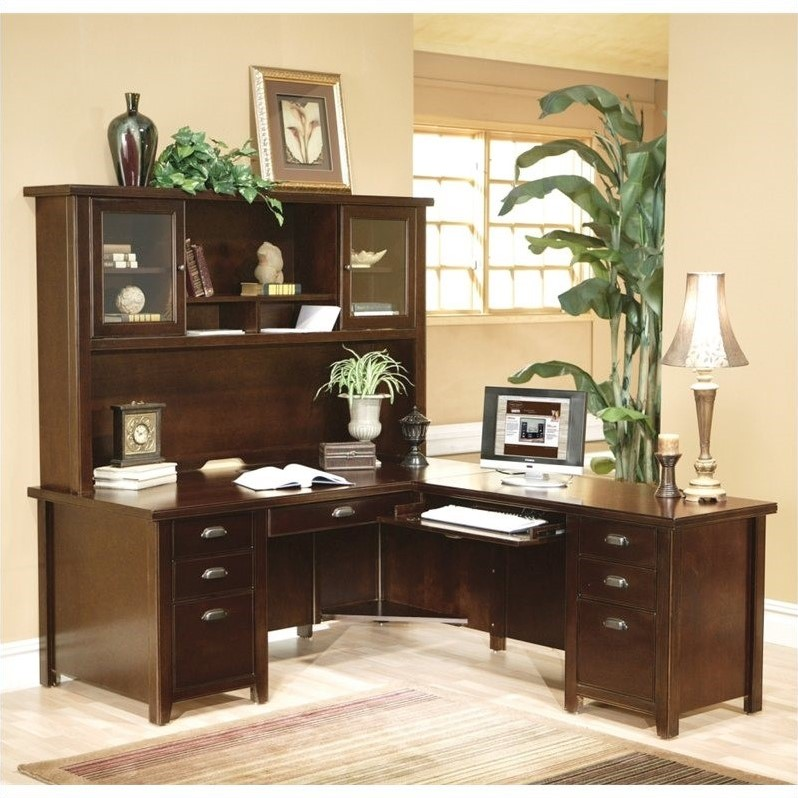Martin Furniture L Shaped Executive Desk With Hutch In