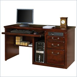 Kathy Ireland Home by Martin Huntington Club Single Pedestal Computer Desk with Hutch in Vibrant Cherry