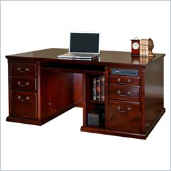 Kathy Ireland Home by Martin Huntington Club Double Pedestal Computer Desk in Vibrant Cherry