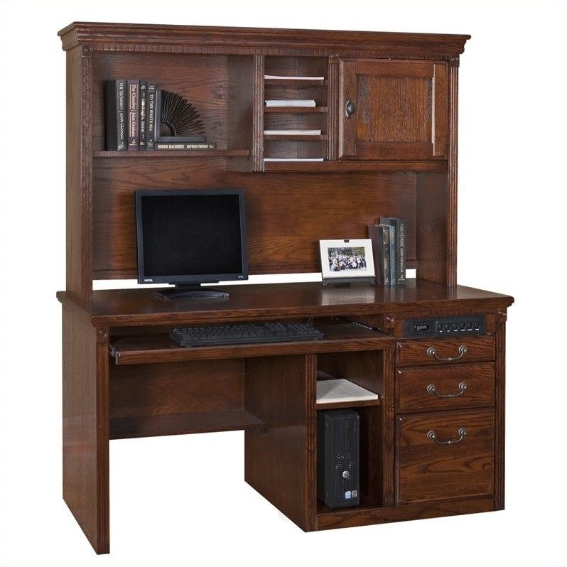 Kathy Ireland Home by Martin Huntington Oxford Single Pedestal Wood Computer Desk in Burnish