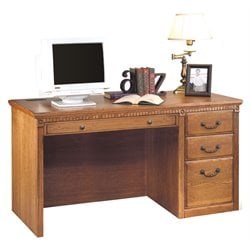 Kathy Ireland Home by Martin Furniture Huntington Oxford Single Pedestal Wood Computer Desk in Distressed Wheat