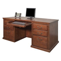 Kathy Ireland Home by Martin Huntington Oxford Executive Double Pedestal Wood Computer Desk in Burnish