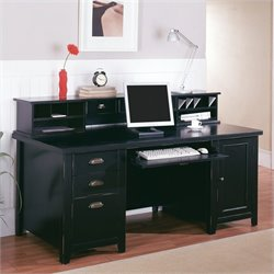 Martin Furniture Tribeca Loft Double Pedestal Wood Computer Desk with Hutch in Black