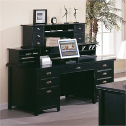 Martin Furniture Tribeca Loft Double Pedestal Wood Executive Desk with Hutch in Black