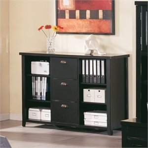 Kathy Ireland Home by Martin Tribeca Loft 3 Drawer Lateral Wood File Storage Bookcase in Black