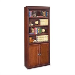 Kathy Ireland Home by Martin Huntington Club 6 Shelf Wood Bookcase in Vibrant Cherry