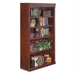 Kathy Ireland Home by Martin Huntington Club 5-Shelf Bookcase in Vibrant Cherry