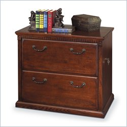 Kathy Ireland Home by Martin Huntington Oxford Lateral 2 Drawer Wood File Storage Cabinet in Distressed Burnish