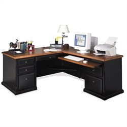 Kathy Ireland Home by Martin Southampton RHF L-Shaped Executive Desk in Oynx Black