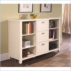 Kathy Ireland Home by Martin Tribeca Loft 3 Drawer Lateral Wood File Cabinet in Distressed White