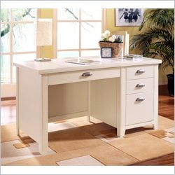 Kathy Ireland Home by Martin Tribeca Loft Single Pedestal Wood Writing Desk in White