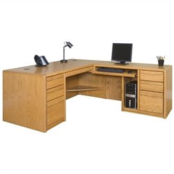 Martin Furniture Contemporary RHF L-Shaped Computer Desk in Medium Oak