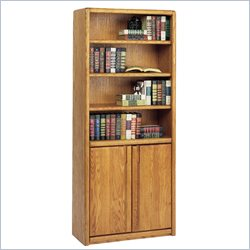Martin Furniture Contemporary Bookcase with Lower Doors in Medium Oak