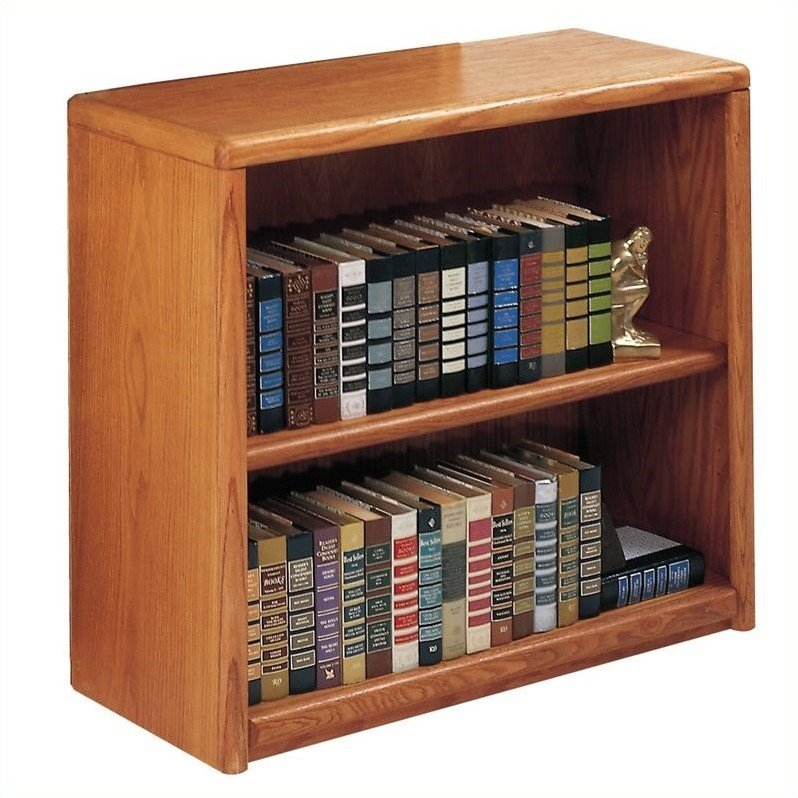 Contemporary Bookcase with 2 Shelves in Medium Oak