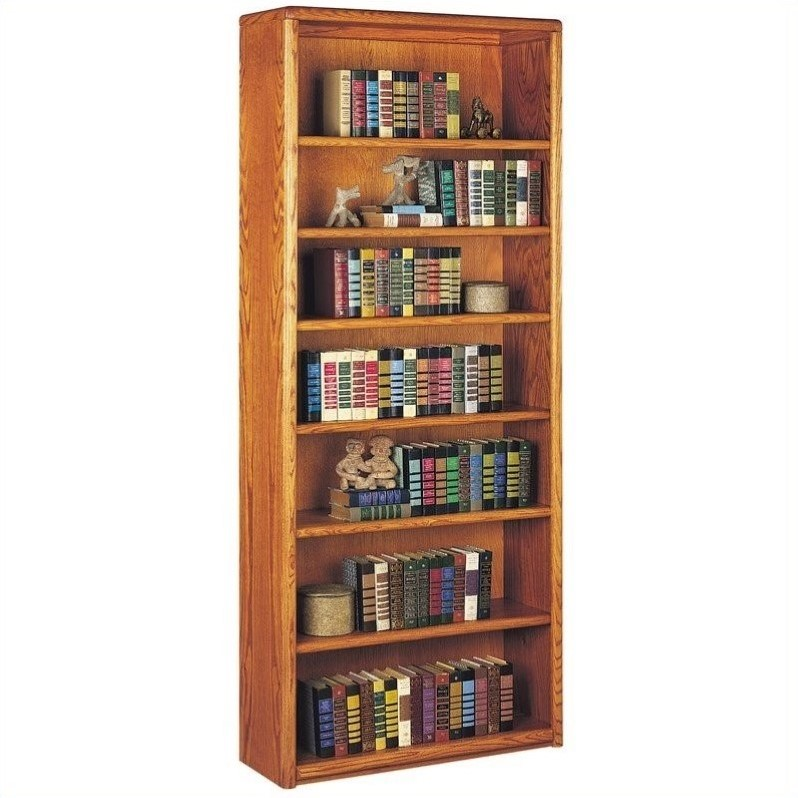 Contemporary 7 Shelf Wood Bookcase in Medium Oak