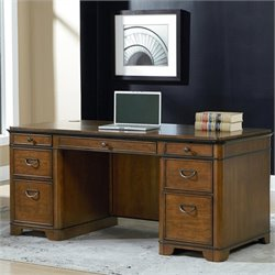 Kathy Ireland Home by Martin Kensington Double Pedestal Executive Desk in Warm Fruitwood