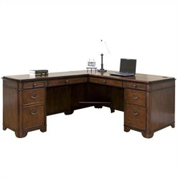 Kathy Ireland Home L-Shaped Computer Desk in Warm Fruitwood
