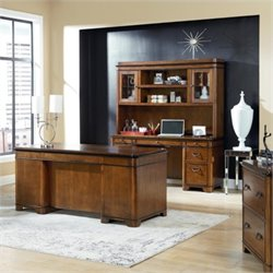 Kathy Ireland Home by Martin Kensington Executive Desk Credenza and Hutch in Warm Fruitwood