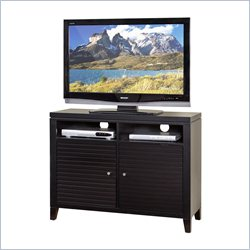 Martin Furniture Davenport TV Stand with Slat Doors in Black
