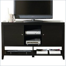 Martin Furniture Davenport Tall TV Stand with Doors in Black