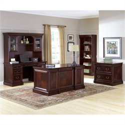 Kathy Ireland Home by Martin Mount View Office Set in Cherry Cobblestone