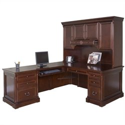Kathy Ireland Home by Martin Mount View Left Hand Executive Desk with Hutch in Cherry Cobblestone