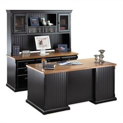 Kathy Ireland Home by Martin Southampton Executive Desk Set with Hutch in Onyx Black