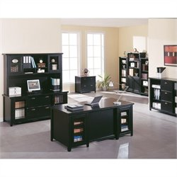 Kathy Ireland Home by Martin Tribeca Loft Executive Desk Set with Lower Door Bookcase in Onyx Black