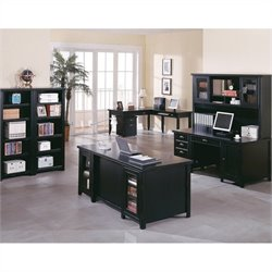 Kathy Ireland Home by Martin Tribeca Loft Executive and L-Shaped Writing Desk Set in Onyx Black