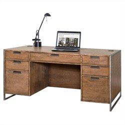 Kathy Ireland Home by Martin Belmont Executive Desk in Rustic Wire Brushed Ash