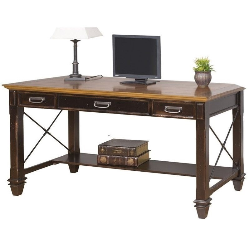 Martin Furniture Hartford Writing Desk in Two Tone Distressed Black