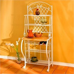 Southern Enterprises Trellis Bakers Rack with Wine Storage