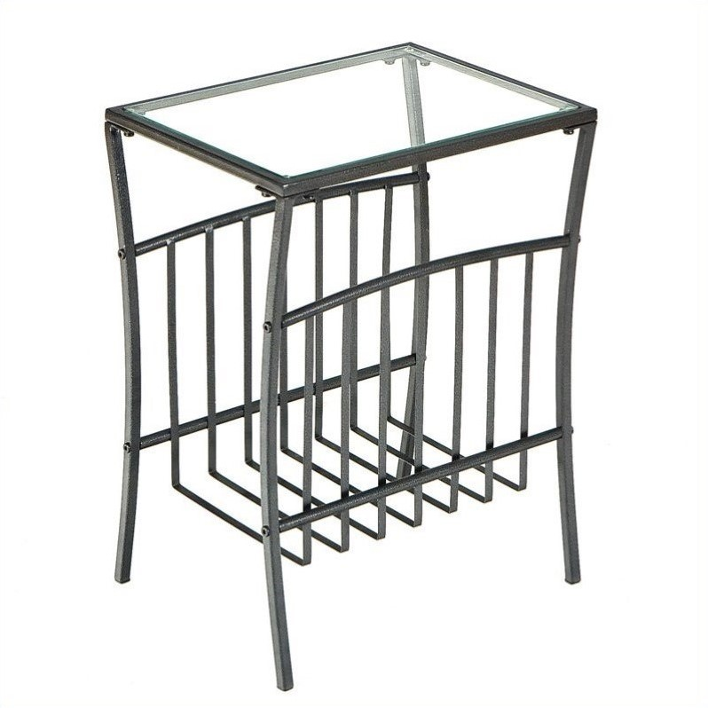 Southern Enterprises Metal Magazine Table in Textured Black