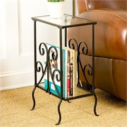 Southern Enterprises Kilpatrick Metal Magazine Table in Painted Black
