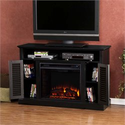 Southern Enterprises Antebellum Electric Fireplace TV Stand in Black