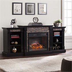 Southern Enterprises Gallatin Infrared Electric Fireplace in Black