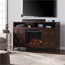 Southern Enterprises Rutherford Electric Fireplace TV Stand in Brown