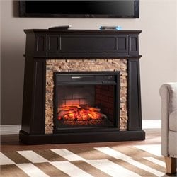 Crestwick Electric Fireplace TV Stand in Black