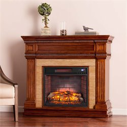 Southern Enterprises Faircrest Infrared Electric Fireplace in Oak