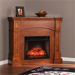Southern Enterprises Lantana Corner Infrared Electric Fireplace in Oak