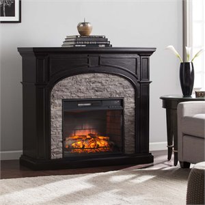 Tanaya Electric Fireplace in Ebony and Gray