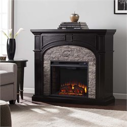 Southern Enterprises Tanaya Electric Fireplace in Ebony and Gray