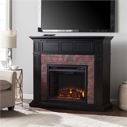 Southern Enterprises Kyledale Faux Brick Electric Fireplace TV Stand