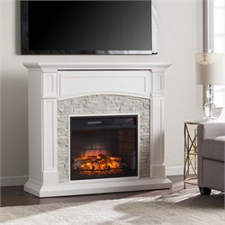 Seneca Faux Stone Electric Fireplace TV Stand