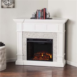 Southern Enterprises Merrimack Corner Electric Fireplace in White