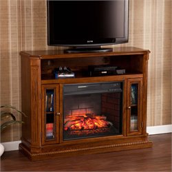 Atkinson Electric Fireplace TV Stand in Rich Brown Oak