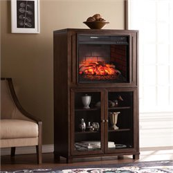 Southern Enterprises Allman Infrared Electric Fireplace Curio Tower