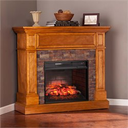 Southern Enterprises Rosedale Corner Electric Fireplace TV Stand